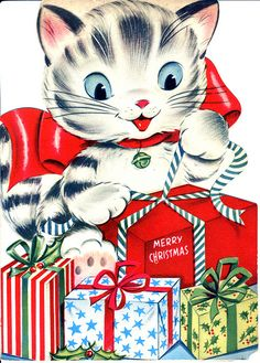 Vintage Christmas Kitten Card