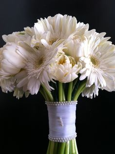 Beautiful Cabbage Tulips with Gerbera Daisy Bridal Bouquet