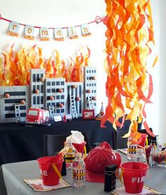 Looking for the hottest fireman party ideas? Fireman Party: Romain's Party is on Fire. Sirens are blazing for this adorable Firetruck Party! With fun flickering flames and burning building.this party is sure to impress! Birthday Party Celebration, 4th Birthday Parties, Boy Birthday, Fire Truck Birthday Party, Birthday Ideas, Party Party, Birthday Cake, Third Birthday, Fireman Party