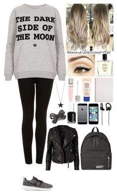"""Go to school.... #26"" by emma-directioner-r5er ❤ liked on Polyvore featuring Topshop, Pink Mascara, NIKE, Liaison De Parfum, Lancôme, Rimmel, Mead, Just Female Acces, Essie and Jabra"