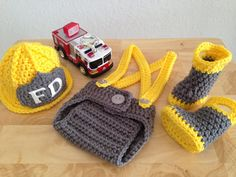 Baby Fireman Firefighter Hat 4 pc Diaper Cover by CarynsYarnBasket, $58.00......Katie I'm going to get this bc Cash has a Fireman Suit and have a pic of the boys together!!