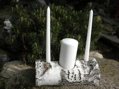 White Birch Unity Candle Holder Perfect for Weddings, Centerpieces, Fireplace This set includes 1 unity log with 1 pillar candle and and 2 taper candles, the logs are about 11 long The candles are removable and replaceable. Log Candle Holders, Unity Candle Holder, Candle Stand, Party Table Centerpieces, Floating Candle Centerpieces, Vases, Unity Ceremony, Wedding Ceremonies, Wedding Events