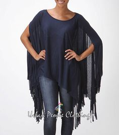 S Solid Regular Size Poncho Sweaters for Women Poncho Sweater, Vintage Bohemian, Loose Fit, Boho Chic, Cover Up, Navy, Retro, Medium, Shop
