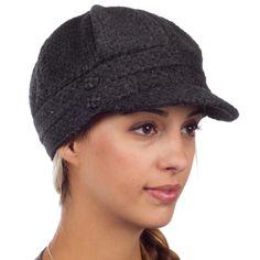 Sakkas Womens Wool Blend Newsboy / Cabbie Winter Hat / Cap with Buttoned Detail