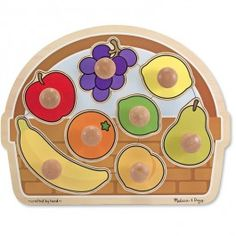 Fruit Basket Jumbo Knob Puzzle - Educational Toys Planet. Great gift for 1 year old child. Featuring a super chunky wooden frame, with 8 easy-to-grasp fruit puzzle pieces, this Melissa
