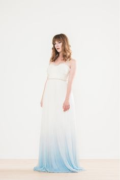"""Add a little """"something blue"""" to your dress with this stunning dip dyed gown we found on MinkMaidsCollection Etsy shop!"""
