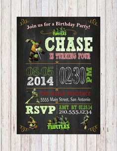 Teenage Mutant Ninja Turtles TMNT Custom Chalk Board Party Invitation Chalkboard 4x6 or 5x7 birthday party invitations on Etsy, $9.99