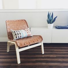 SnapWidget | Our IKEA hack is complete! We took the NOLMYRA chair and gave it a woven leather cover. Pretty dang proud! But kind of over DIY for a while.  #rectorsathome #ikeahack