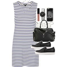 Outfit with a striped dress for summer by ferned on Polyvore featuring Topshop, Diesel, Skagen, Akira, Forever 21, Casetify and NYX