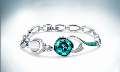 Pretty Design 925 Sterling Silver Bracelet, with Aquamarine AAA Zircon and Cat's Eye, Silver