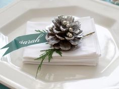 Silver Pine Cone Place Card