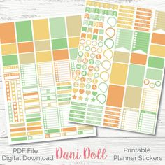 Autumn Fall Weekly Planner Stickers Colourful Leaf 2 Sheets Printable Sticker Pack PDF Instant Download Erin Condren Mambi by DaniDollDesignsx