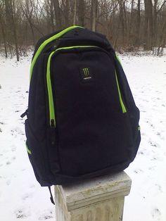 """Monster Energy Drink Back Pack Holds 15"""" Laptop & Media Player New In Bag #MonsterEnergy"""