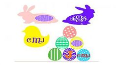 Monogram Vinyl Decal,Bunny Decalr, easter bunny Decal, easter egg, easter monogram, DIY decal, easter craft, easter chick Easter bunny by AmazeingSigns for $5.10