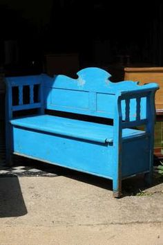pretty antique hungarian painted pine bench with storage