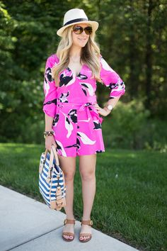 Curvy, Petite Outfit Ideas   Professional Casual Chic Fashion and Style Inspiration   Plus Size Fashion   Summer Fashion   OOTD   Summer Style Linkup #26: Yumi Kim Romper