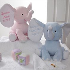 These JUMBO baby elephants are adorable! You can personalize the big ear with the baby's name and birthdate - great gift to bring to the hospital!