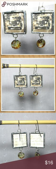 """NWOT Antique Car Photo Image Earrings Handmade Love old cars? These earrings are perfect for the car lover. Unique and sure to get you lots of compliments when you wear them to the next car show. Earrings measure 1"""" wide with a 2 1/2"""" drop. New Jewelry Earrings"""