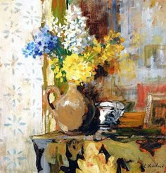 Vase Of Spring Flowers Artwork By Edouard Vuillard Oil Painting & Art Prints On Canvas For Sale Edouard Vuillard, Still Life Flowers, Flower Artwork, Painting Flowers, Post Impressionism, Arte Floral, Art Graphique, French Artists, Oeuvre D'art