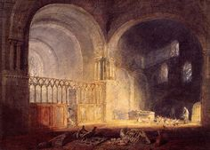 Transept of Ewenny Priory, Glamorganshire : William Turner : Romanticism : interior - Oil Painting Reproductions Joseph Mallord William Turner, Covent Garden, Romanticism Artists, Turner Painting, English Romantic, Watercolor Landscape Paintings, Watercolor Paper, Oil Paintings, Tate Gallery