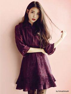 magenta minidress w/ A-line skirt & ribbed hem, black polkadot hose, vivid red lips, chestlength wavy dark hair; Iu Fashion, Korean Fashion, Korean Beauty, Asian Beauty, Dark Hair, Red Hair, Korean Girl, Asian Girl, Black Lips