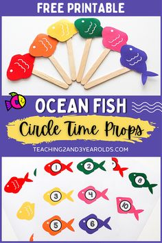 This toddler and preschool ocean theme circle time activity works on color and number recognition and simple counting. Download the free printable and make your own props! #ocean #beach #theme #circletime #centers #colors #numbers #math #props #classroom #printable #teaching2and3yearolds Preschool Color Crafts, October Preschool Themes, Craft Activities For Toddlers, Circle Time Activities, Lesson Plans For Toddlers, Numbers Preschool, Free Printables Preschool, Eyfs Activities, Infant Activities
