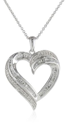 Sterling Silver Diamond Heart Pendant Necklace (1/2 cttw), 18' ** You can find more details by visiting the image link.-It is an affiliate link to Amazon.