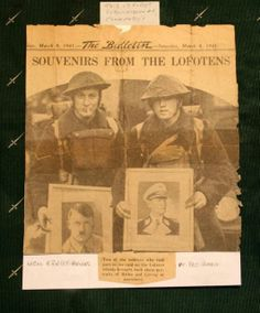 L/Cpl Ernest Brooks and Pte. Alfred Brooking - This Day in WWII History: Mar Britain launches Operation Claymore Lofoten, Wwii, Norway, Britain, Air Force, Berlin, Germany, Product Launch, London