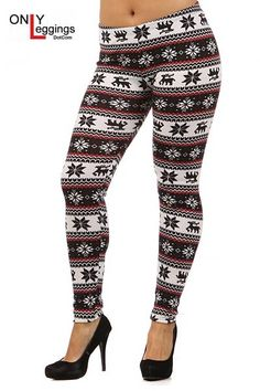 Christmas Fleece Lined Leggings Pants Snowflake Reindeer Printed ...
