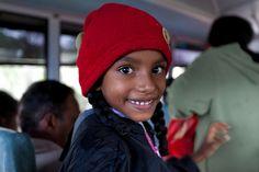 Schoolgirl on the bus, Nuwara Eliya, Central Province, Sri Lanka (www.secretlanka.com) Sri Lanka, Winter Hats, Beanie, African, Schoolgirl, Cousins, People, Faces, Country