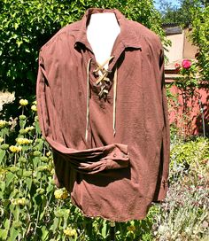 Men's peasant shirt, renaissance, steampunk, sca, pirate, historical re-inactment, size large/extra large. $38.00, via Etsy.