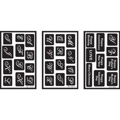 "Over 'n' Over Reusable Glass Etching Stencils 5"" x 8"" 3/pkg, Alphabet"