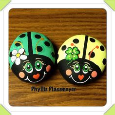 Ladybugs - Painted rocks by Phyllis Plassmeyer