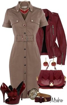 Shoes are too high but super cute. Love this red jacket and dress.