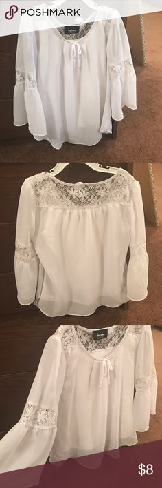 Girl White Blouse Sleeves of blouse flare out and it comes with a undershirt attached Shirts & Tops Blouses
