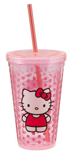 Vandor 18151 Hello Kitty 18 oz Acrylic Travel Cup with Lid and Straw, Pink #VandorLLC