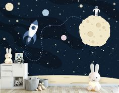 tapete fototapete kinderzimmer babyzimmer mond rakete raumschiff weltall sterne glattvlies astronaut delivers online tools that help you to stay in control of your personal information and protect your online privacy. Space Themed Nursery, Nursery Themes, Nursery Wallpaper, Photo Wallpaper, Wallpaper Ideas, Kids Bedroom Paint, Baby Room, Playroom, Kids Room