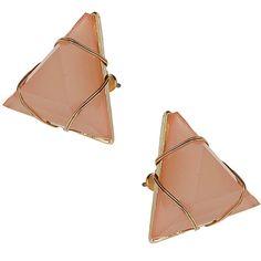 Miss Selfridge Pyramid Glass Stone Studs ($11) ❤ liked on Polyvore