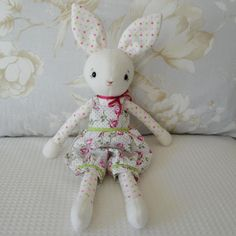 Beautifully crafted dressed Rabbit doll  soft toy. by GEESPROJECTS