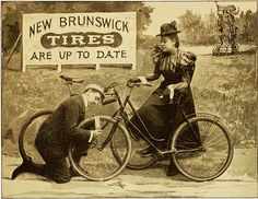 New Brunswick Tires are up to date. Old Bicycle, Bicycle Race, Pub Vintage, Vintage Bikes, Old Advertisements, Advertising Ads, Old Time Photos, Victorian Photography, Bicycle Types