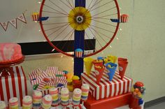 A ferris wheel from a bike wheel! TOO cute! ( or your metal circle!!!!) ~steph