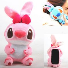 Lovely Pink 3D Stitch Plush Dolls Protective Case for iPhone 4/4S/5/5s