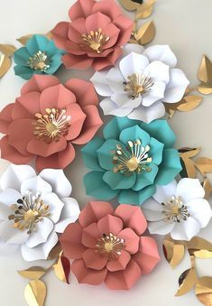 Paper flowers set of 5 paper flowers for baby nursery birthday party decor baby shower decor photo backdrop decor Best 11 DIY paper peonies with free printable template. [how to make paper flowers, DIY paper flower template, easy paper flower tutorial, pa Paper Flowers Craft, Large Paper Flowers, Paper Flower Wall, Paper Roses, Flower Crafts, Diy Flowers, How To Make Flowers Out Of Paper, Diy Paper Flower Backdrop, Handmade Paper Flowers