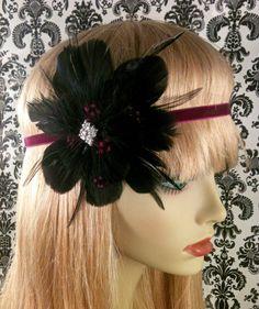 1920s Art Deco Headband, Flapper Headband, Feather Flower