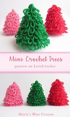 Crochet Mini Christmas Tree Decoration | DIY Holiday Home Decor | Made with Paintbox Yarns | Pattern on LoveCrochet | Designed by Maria's Blue Crayon