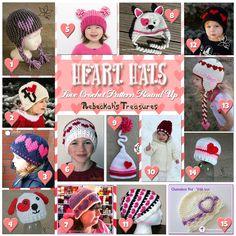 Roundup: 31 crochet patterns for heart hats via Rebeckah's Treasures