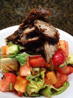 A Hawaiian Gal's Spicy Grilled Flank Steak (homemade Carne Asada) Taco Salad, very good.  The dressing is just jarred salsa!