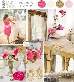(MAYBE FUSCHIA AND PALE GREEN WOULD GO, TAY) Reminds me of my own wedding. Fushia & Gold wedding board via Magnolia Rouge. {Except I used blushes not brights, but still...}