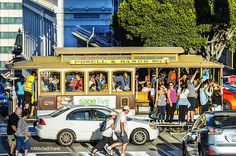 Crowds Of People On Cable Car On California Street, San Francisco  www.mitchellfunk.com
