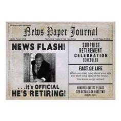 Retirement Party Invitation - PHOTO INSERT/ News Invite